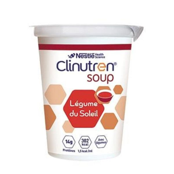 CLINUTREN SOUP Légumes du Soleil - Complément Nutritionnel 300 Kcal - Lot de 4 - Pot/200ml x4
