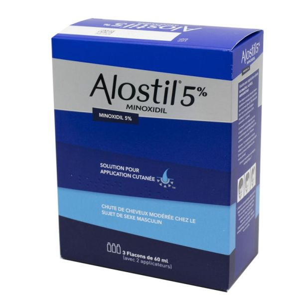 Alostil 5 %, solution pour application cutanée, 3 x 60 ml