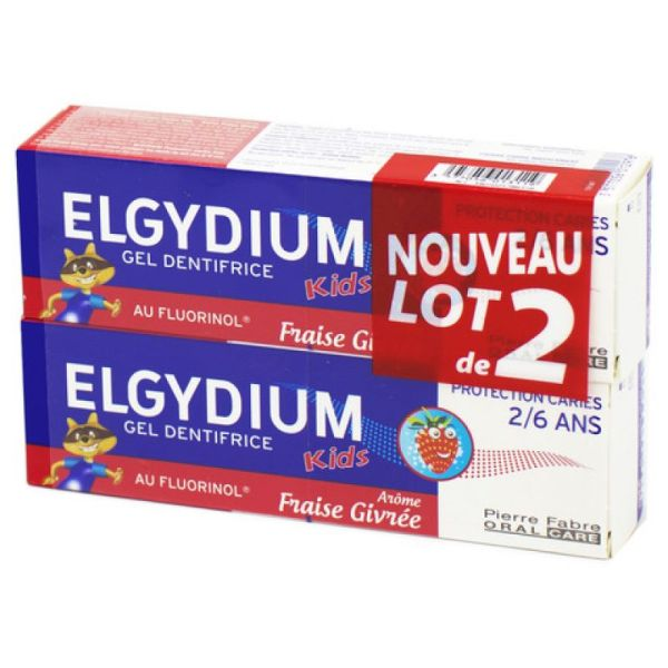 ELGYDIUM KIDS Lot de 2 Dentifrice Protection Caries - FRAISE GIVREE - Pour les 2 à 6 ans - 2x 50ml