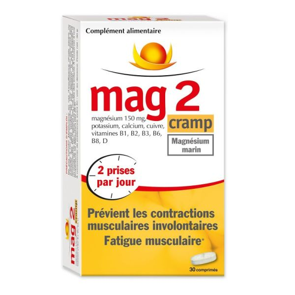 MAG 2 Cramp Magnésium Marin - Contractions Musculaires Involontaires, Fatigue Musculaire - 60 Cp