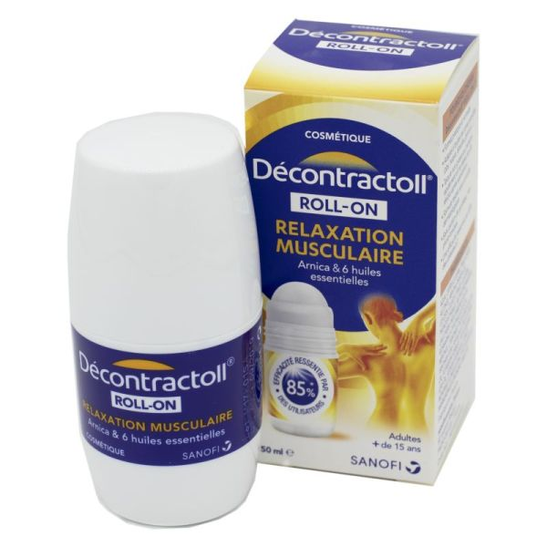 DECONTRACTOLL Relaxation Musculaire Arnica + 6 Huiles Essentielles - Dès 15 Ans - Roll-On/50ml